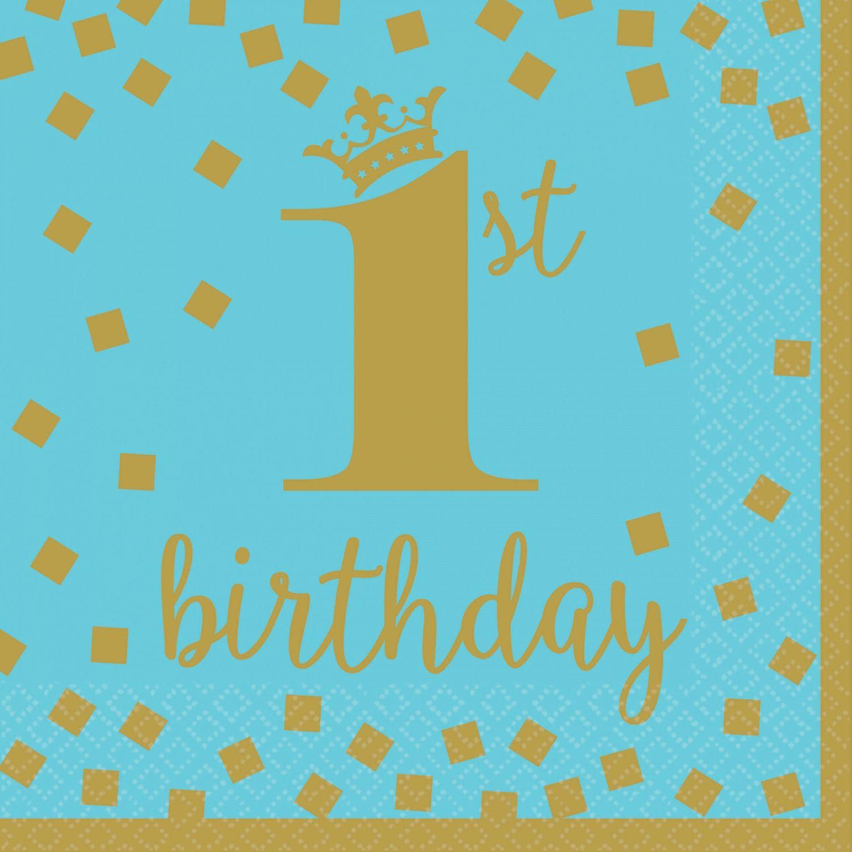 Image of Servietter - 1st Birthday Blue and Gold 33x33cm (16 stk) (511862)