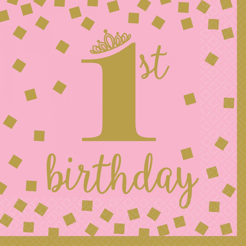 Image of Servietter - 1st Birthday Pink and Gold 33x33cm (16 stk) (511861)
