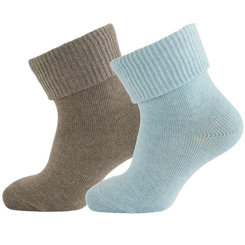 Strømper fra Melton - ABS - Dusty Blue/Brown (2 par)