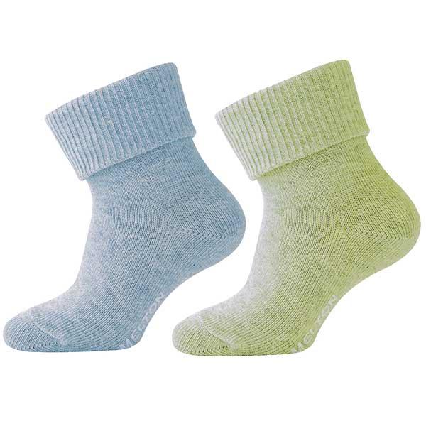 Strømper fra Melton - ABS - Turkis og grøn melange (2 par)