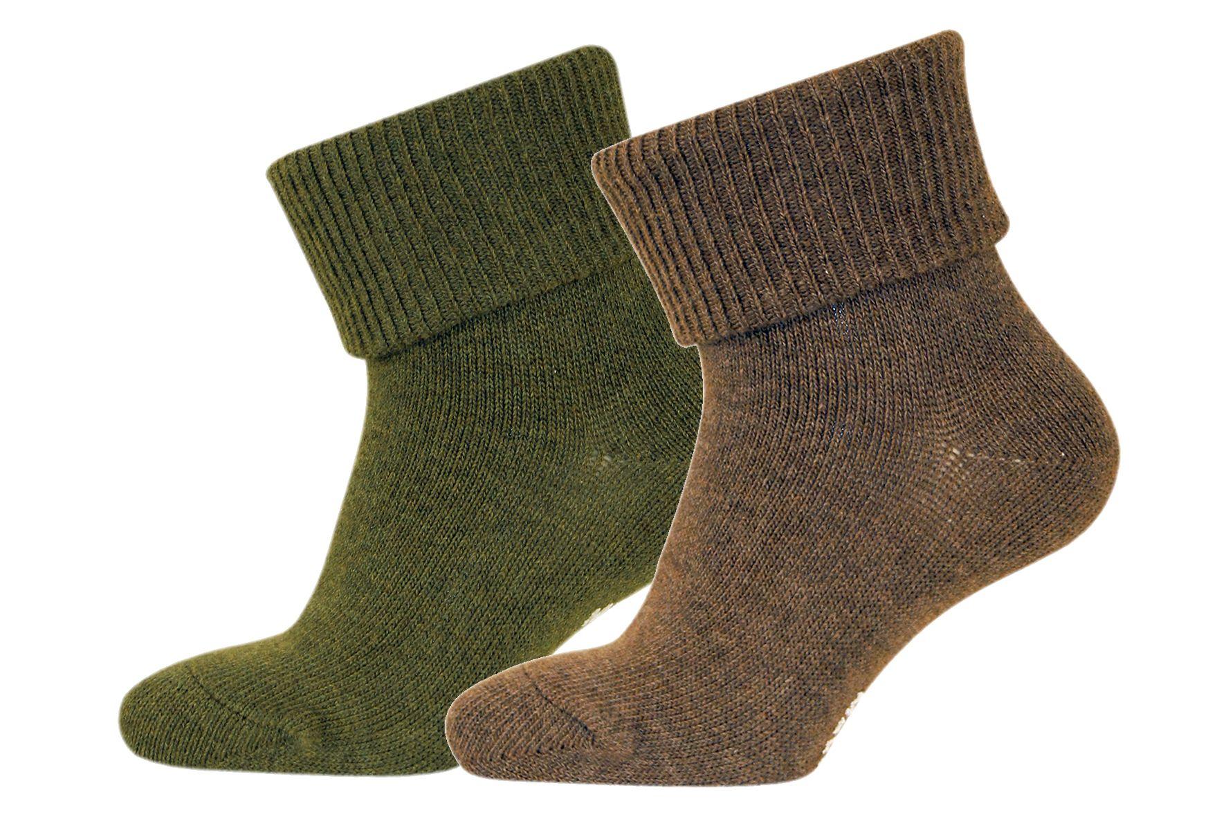 Strømper fra Melton - ABS - Oliven / brun melange (2 par)