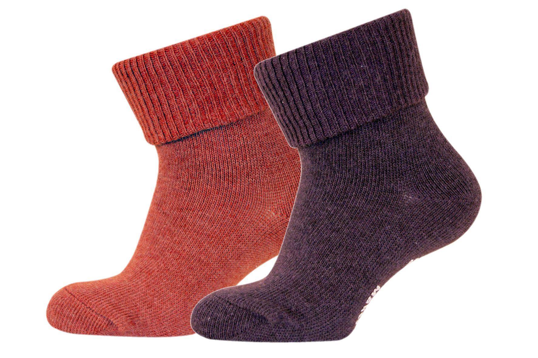 Strømper fra Melton - ABS - Rød / lilla melange (2 par)