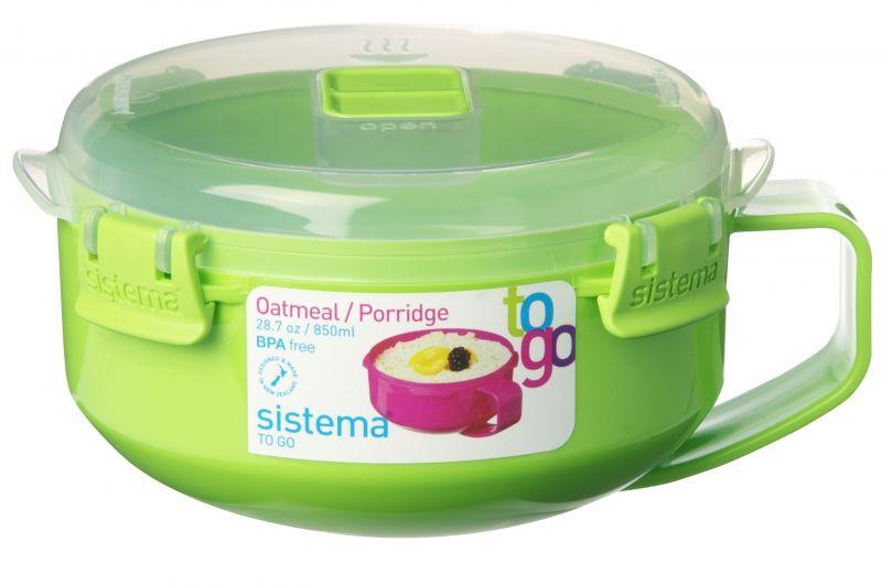 Sistema Skål til microbølgeovn fra sistema- nudler eller havregrød - grøn på babygear.dk