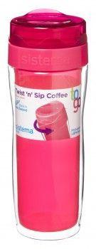 Termokrus - Sistema Twist 'n' Sip Coffee To Go 490ml - Transparent Fuchsia