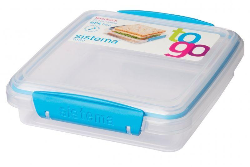 Image of Sandwich box fra Sistema - 450 ml - Blå accent (9414202216472_bla)
