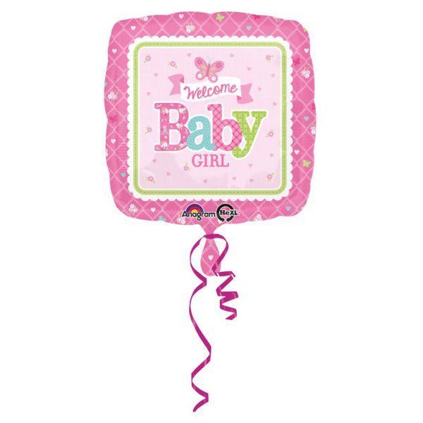 Ballon - folie - welcome baby girl (43cm) fra Amscan på babygear.dk