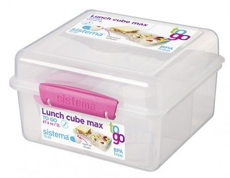 Image of   Madkasse Lunch Cube Max fra Sistema m. bæger - Pink Accents