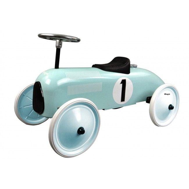 Gåbil i metal m. gummihjul fra Magni - Mint Racerbil