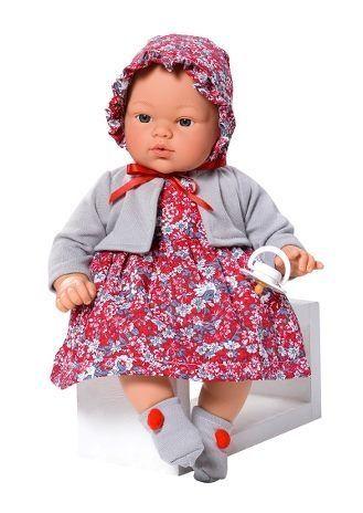 Image of Babydukke fra Así - Blød krop - Koke pige i rød blomstret kjole (36 cm) (24403550)