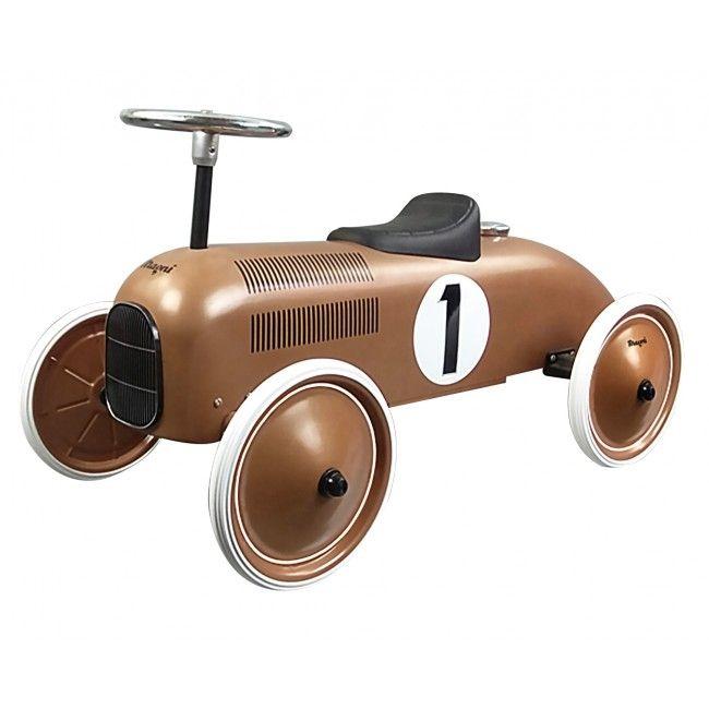 Gåbil i metal m. gummihjul fra Magni - Kobber Racerbil