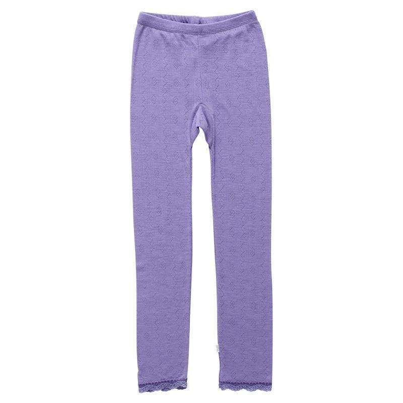 Image of   Leggings fra Joha - Uld/silke - Blondekant og hulmønster - Lavendel
