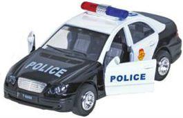 Image of   Legetøjsbil m. lys og lyd fra Goki - Blå el. sort politibil (15cm)