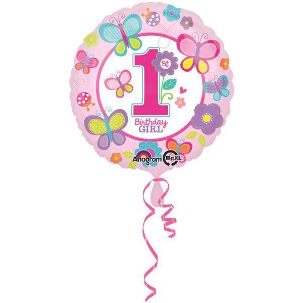 Ballon - folie - 1st birthday girl (43cm) fra Amscan fra babygear.dk