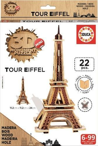 Image of Puslespil i træ fra Educa - 3D Mini monumenter - Eiffeltårnet (017302_Eiffel)