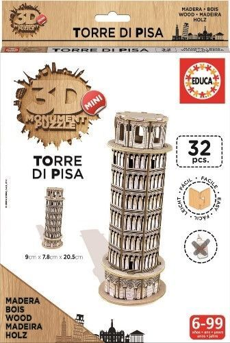 Image of Puslespil i træ fra Educa - 3D Mini monumenter - Torre di Pisa (017302_TorreDiPisa)