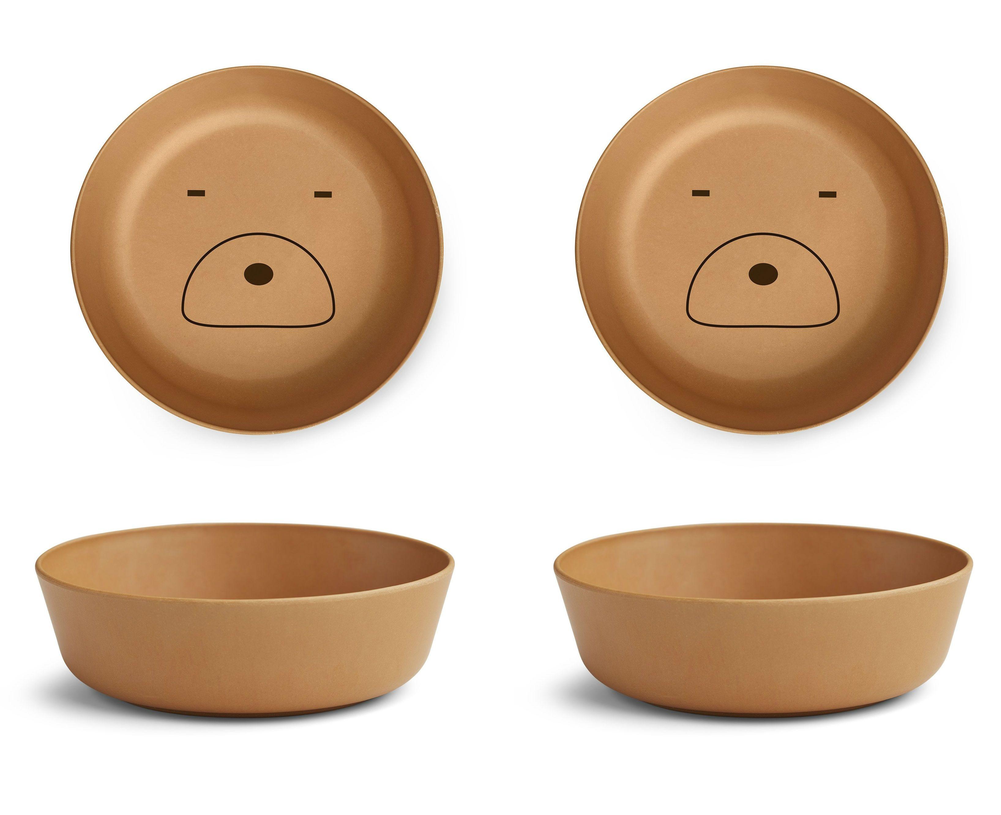 Image of Skåle fra Liewood - Bambus - Mustard Bear (2-pak) (LW12403-0120)