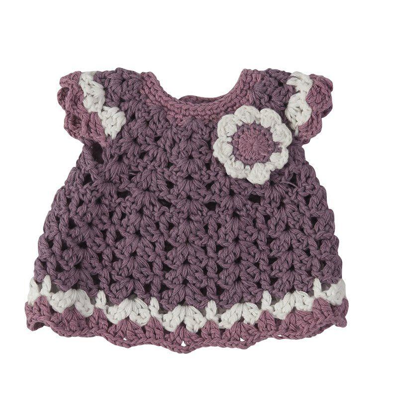 Dukketøj fra Sebra - kjole m/blomst pastel lilla