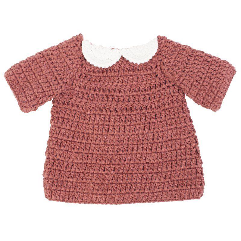 Dukketøj Fra Sebra -  kjole -  clay red