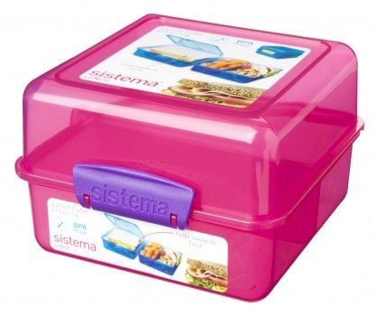 Image of Madkasse Lunch Cube fra Sistema Itsy Bitsy - Pink/lilla (9414202317353_pink-lilla)