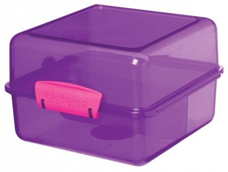 Image of   Madkasse Lunch Cube fra Sistema Itsy Bitsy - Lilla m. pink clips