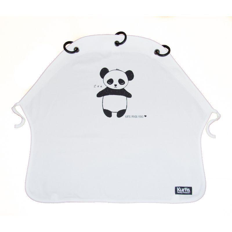 Pram Curtain fra Kurtis - Solskærm - Panda White (Ökotex)