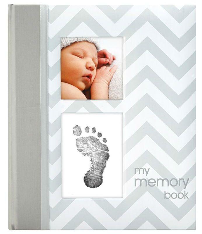 Image of Babybog m. aftryk-sæt fra Pearhead - My Memory Book - Grå (P62200)