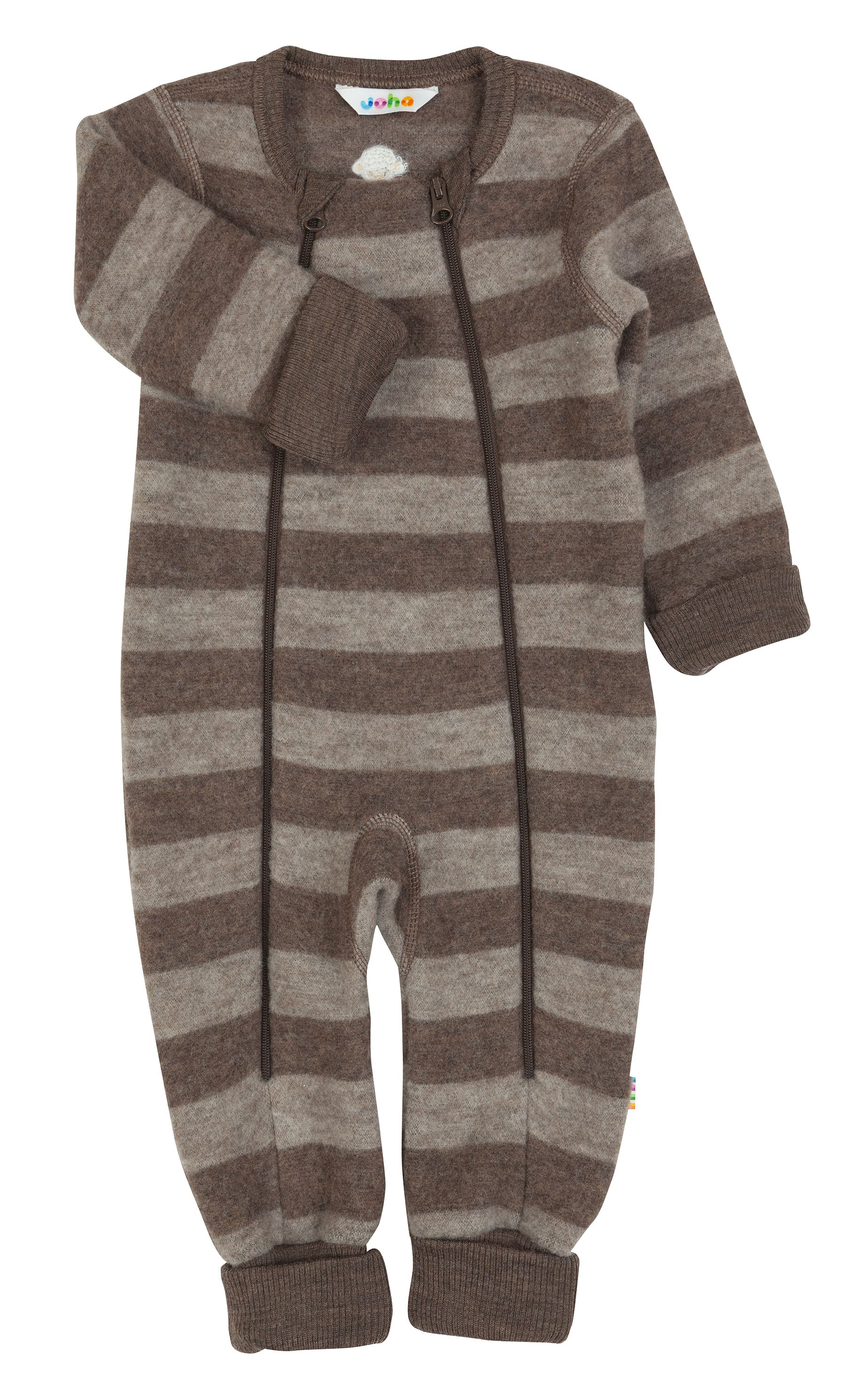 Image of   Jumpsuit med dobb. Lynlås og tryllefod fra Joha - Soft Wool - grey-brown stripe
