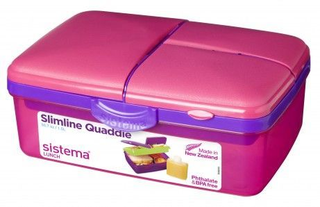 Madkasse m. køleelement - Sistema Quaddie Slimline - Pink/Lilla