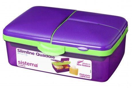 Madkasse m. køleelement - Sistema Quaddie Slimline - Lilla/Lime