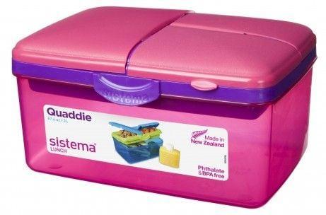 Madkasse m. køleelement - Sistema Quaddie - Pink/lilla