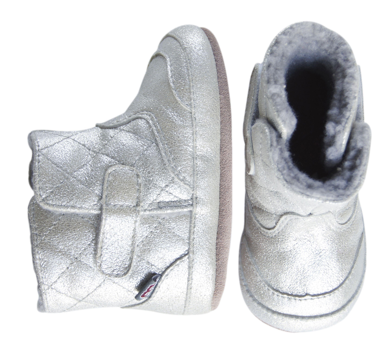 Image of   Skindsko fra Melton - Quilted Leather Bootie - Silver