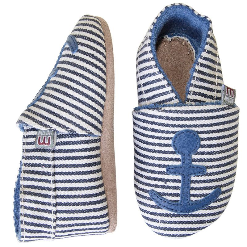 Image of   Hjemmesko fra Melton - Marine Stripes / Anchor