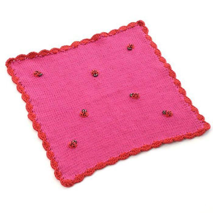 Image of   Dukke tæppe fra Smallstuff - Strikket - Pink m. mariehøns