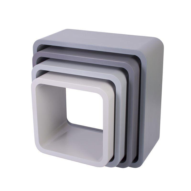 Image of Bogkasser fra Sebra - kvadratisk mat grå (4 stk) (4009303)