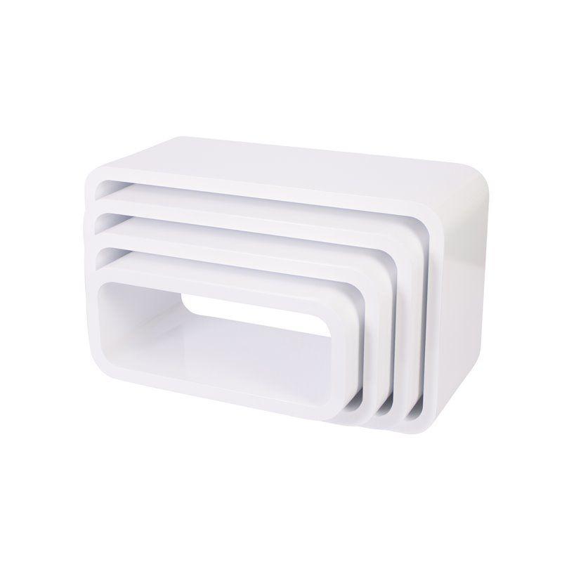 Image of Bogkasser fra Sebra - oval mat hvid (4 stk) (4009305)
