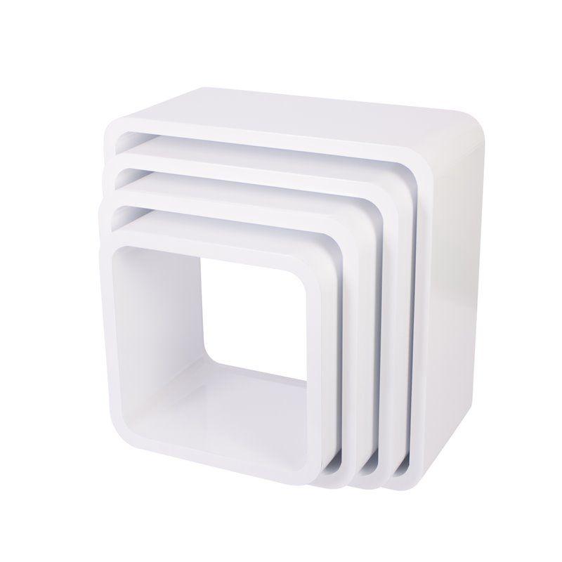 Image of Bogkasser fra Sebra - kvadratisk mat hvid (4 stk) (4009306)
