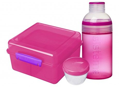 Image of Lunch Pack fra Sistema - Lunch Cube Max m. Trio drikkedunk - Pink (SI_41580_pink)