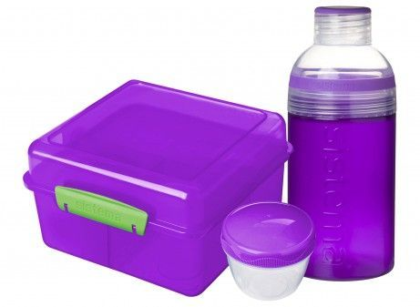 Image of Lunch Pack fra Sistema - Lunch Cube Max m. Trio drikkedunk - Lilla (SI_41580_lilla)