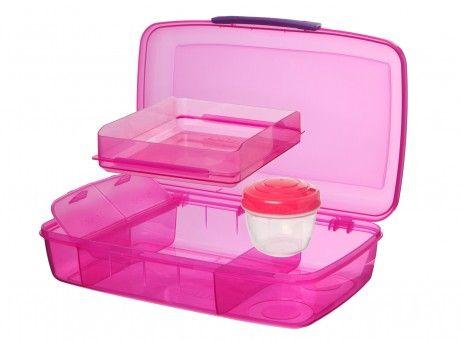 Madkasse fra Sistema - Bento Box - 5 rum og bæger (1,76L) - Pink