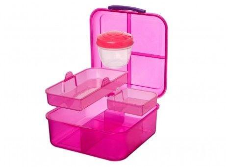 Madkasse fra Sistema - Bento Cube - 5 rum og bæger (1,25L) - Pink