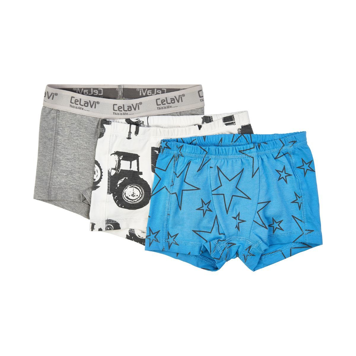 Image of   Boxershorts fra CeLaVi - Tractor and Stars Mix (3 par)