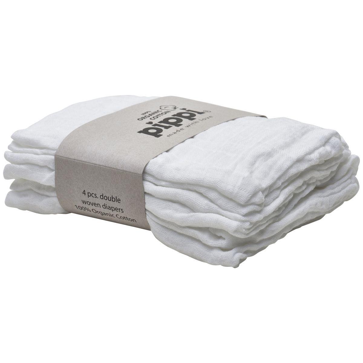 Stofbleer fra Pippi - Økologiske - All White  (4-pak)