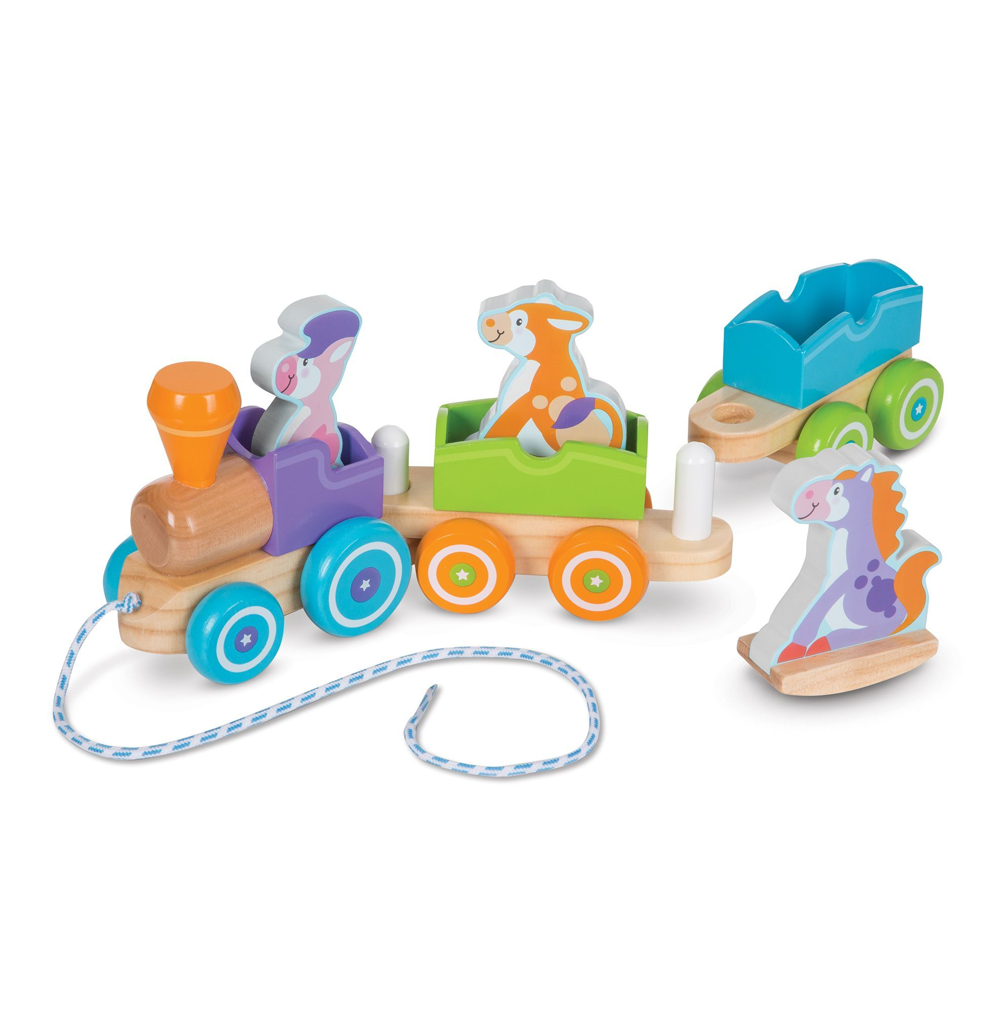 Image of Træktog fra Melissa & Doug - Rocking pull train - Farm animals (14608)