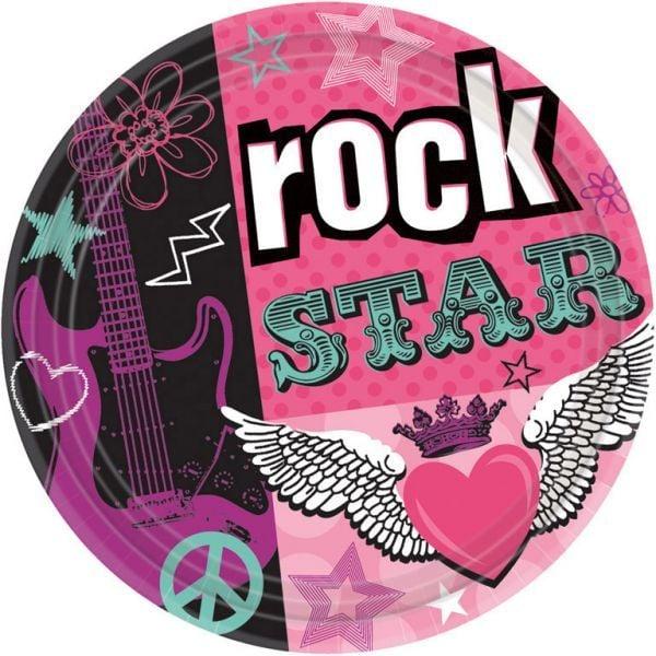 Image of   Stor paptallerken - Rock Star (8 stk)