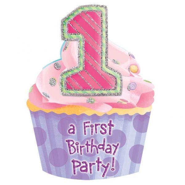 Invitation - Stor - 1 års fødselsdag - 1st Birthday Girl