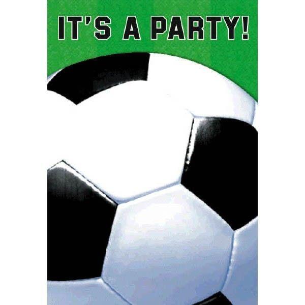 Fødselsdag invitation - Foldbar - Fodbold (8 stk)