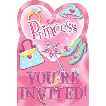 Invitation - Glimmer og klistermærker - Princess (8 stk)