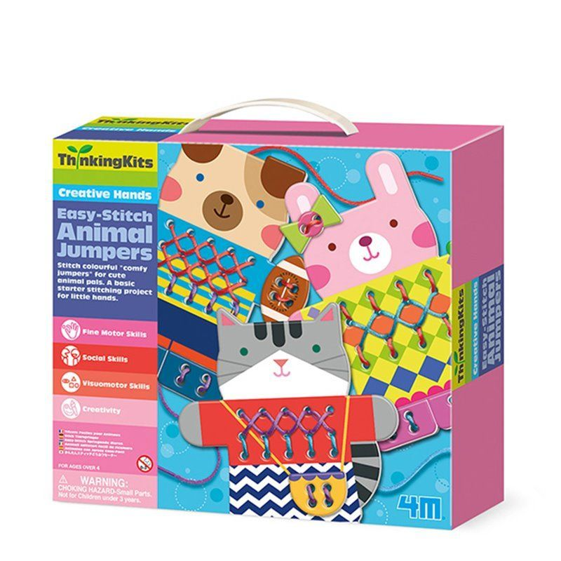 Image of Easy Stitch Animal Jumpers - Thinking Kits fra 4M (4M-4670)