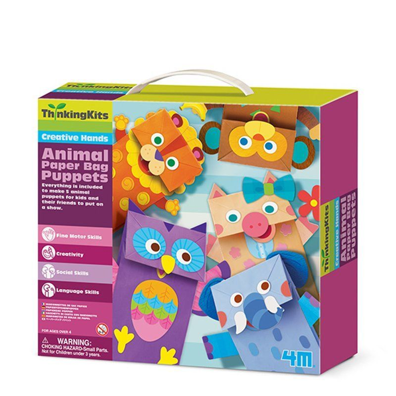 Image of Animal Paper Bag Puppets - Thinking Kits fra 4M (4M-4672)