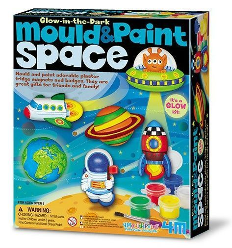 Make your own Space magnets - Glow in dark - Mould & Paint fra 4M